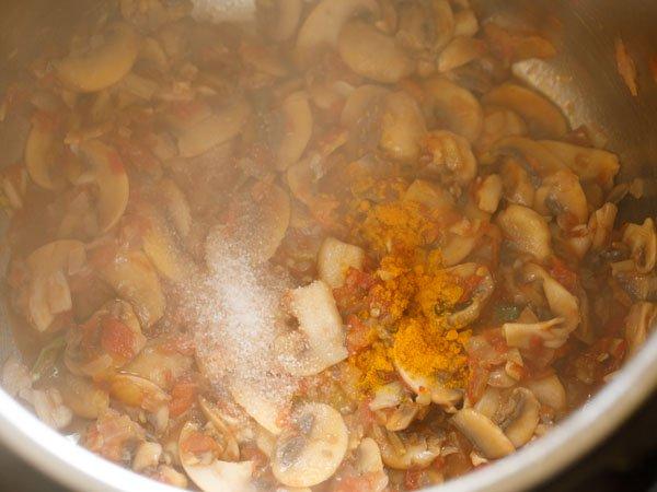 ajout de poudre de curcuma et de sel au pot instantané