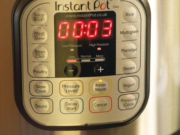 cuisson sous pression pendant 3 minutes