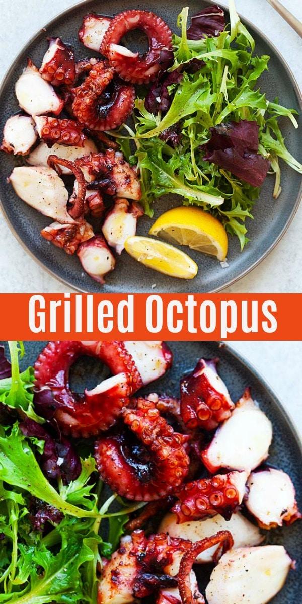 Poulpe grillé à l'huile d'olive, poivre de Cayenne et citron. Ce poulpe espagnol grillé avec salade est le meilleur et le restaurant digne, juteux, tendre et délicieux!