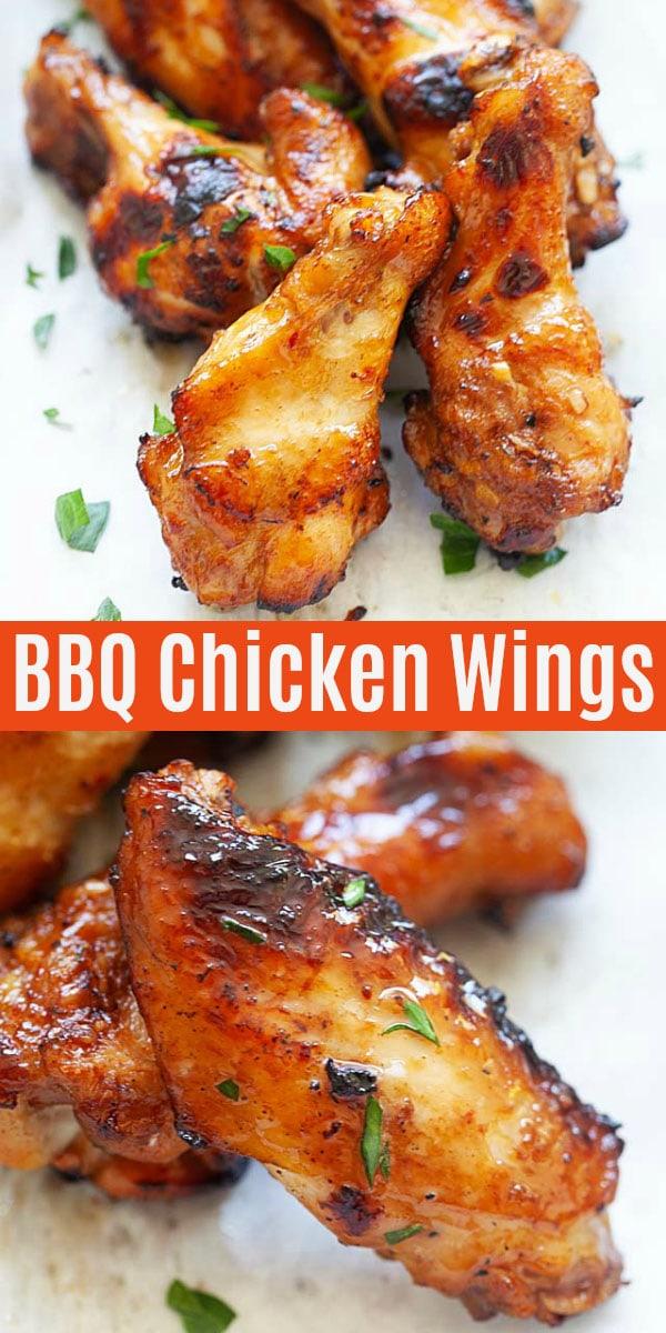 Ailes de poulet barbecue au miel marinées avec sauce maison, ail, miel et sauce soja. Ces ailes ont une peau croustillante, juteuse et savoureuse et parfaite pour les grillades en plein air!