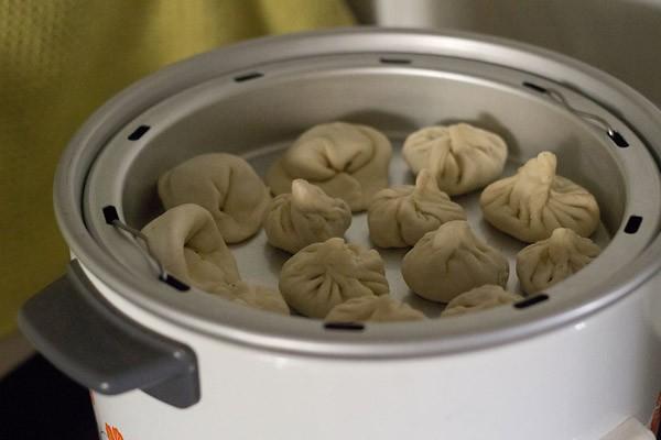 la poêle à vapeur avec les veg momos conservés à l'intérieur d'une cuisinière électrique pour la cuisson à la vapeur