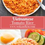 Cơm Đỏ sur une assiette avec une cuillère en métal en la ramassant sur une assiette avec du riz aux tomates, un œuf au plat, des cibes de bœuf et des tranches de concombre et de tomate
