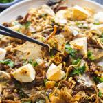Bánh Tráng Trộn soutenu par des baguettes sur une assiette