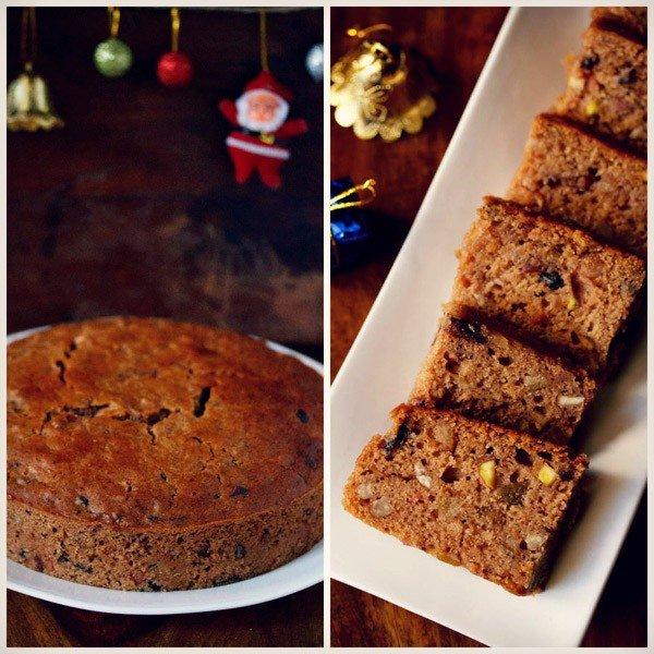 Collage de photos d'un gâteau aux fruits kerala rond sur une assiette blanche et des tranches de gâteau aux fruits kerala sur un plateau rectangulaire blanc