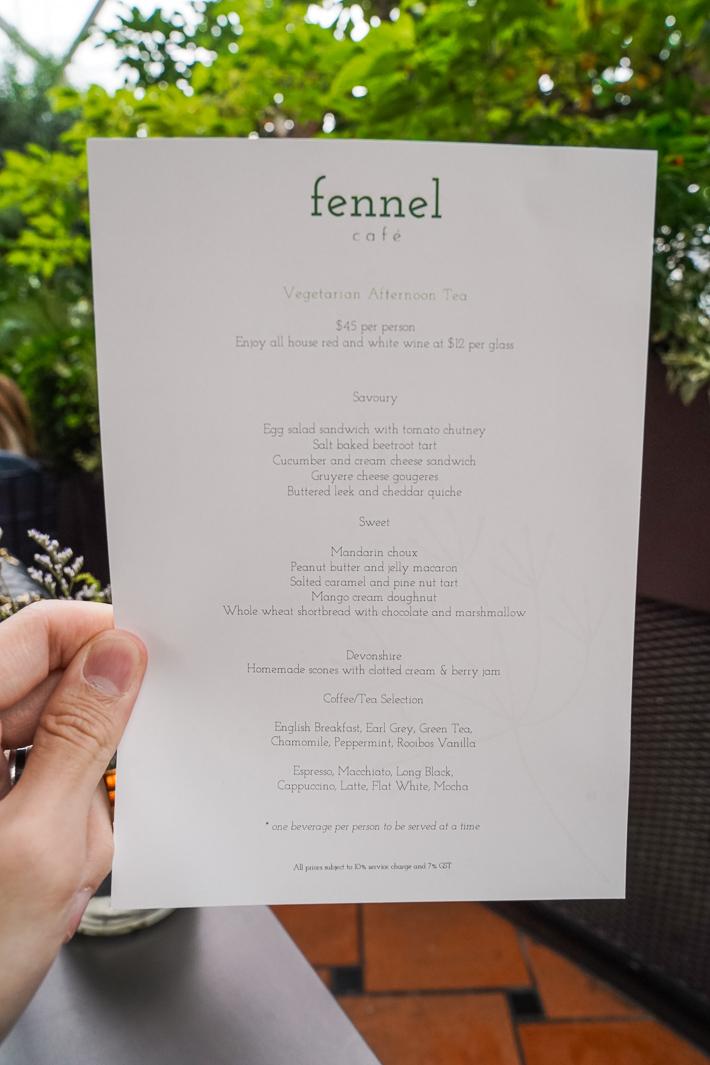 Menu du thé de l'après-midi au Fennel Cafe