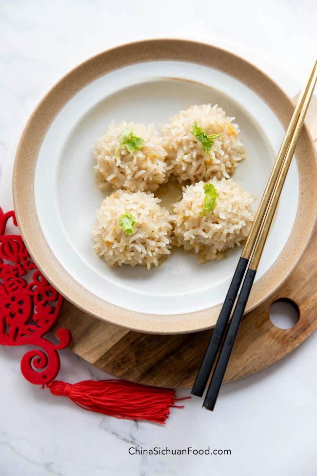boulettes de viande cuites à la vapeur avec riz gluant | chinasichuanfood.com