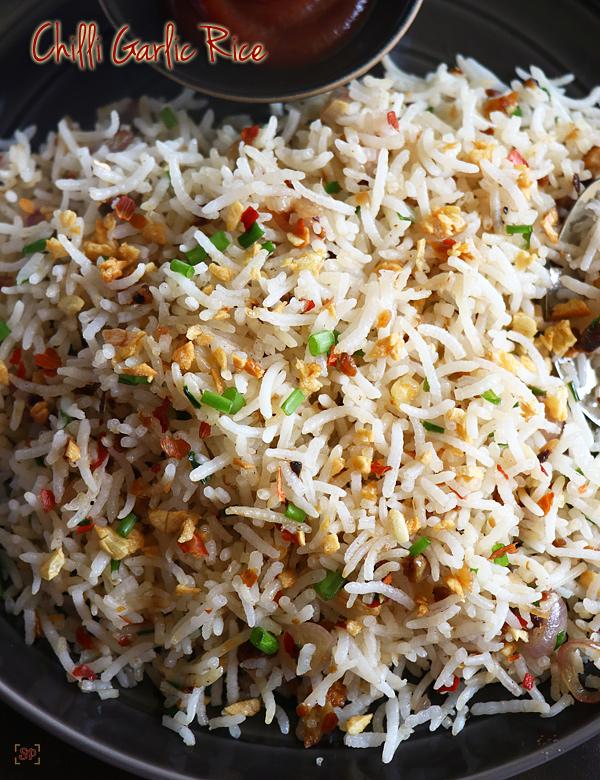 recette de riz frit au piment et à l'ail