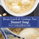 Soupe dessert aux haricots caillés et aux noix de ginkgo dans une casserole avec une cuillère en elle.