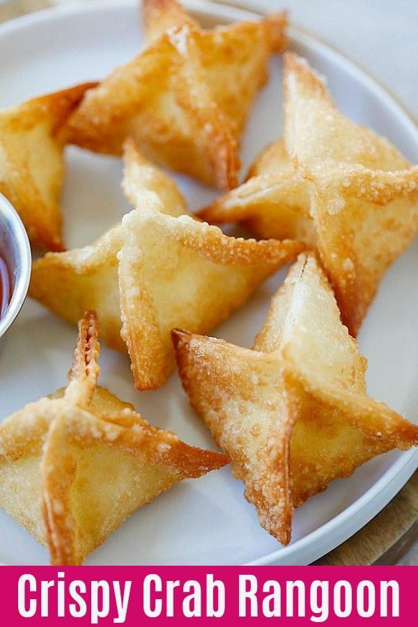 Crab Rangoon - La meilleure et la plus facile recette de rangoon de crabe avec du fromage à la crème et une enveloppe de wonton.  Ces wontons au fromage à la crème sont infaillibles et BEAUCOUP mieux que les plats à emporter chinois |  rasamalaysia.com