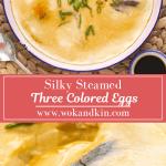 Trois œufs colorés cuits à la vapeur sur une assiette au-dessus d'un autre plat avec une cuillère en elle.