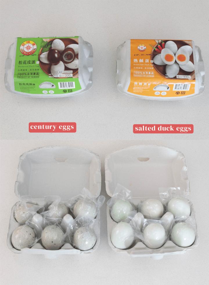 Siècle et œufs de canard salés dans leur emballage.