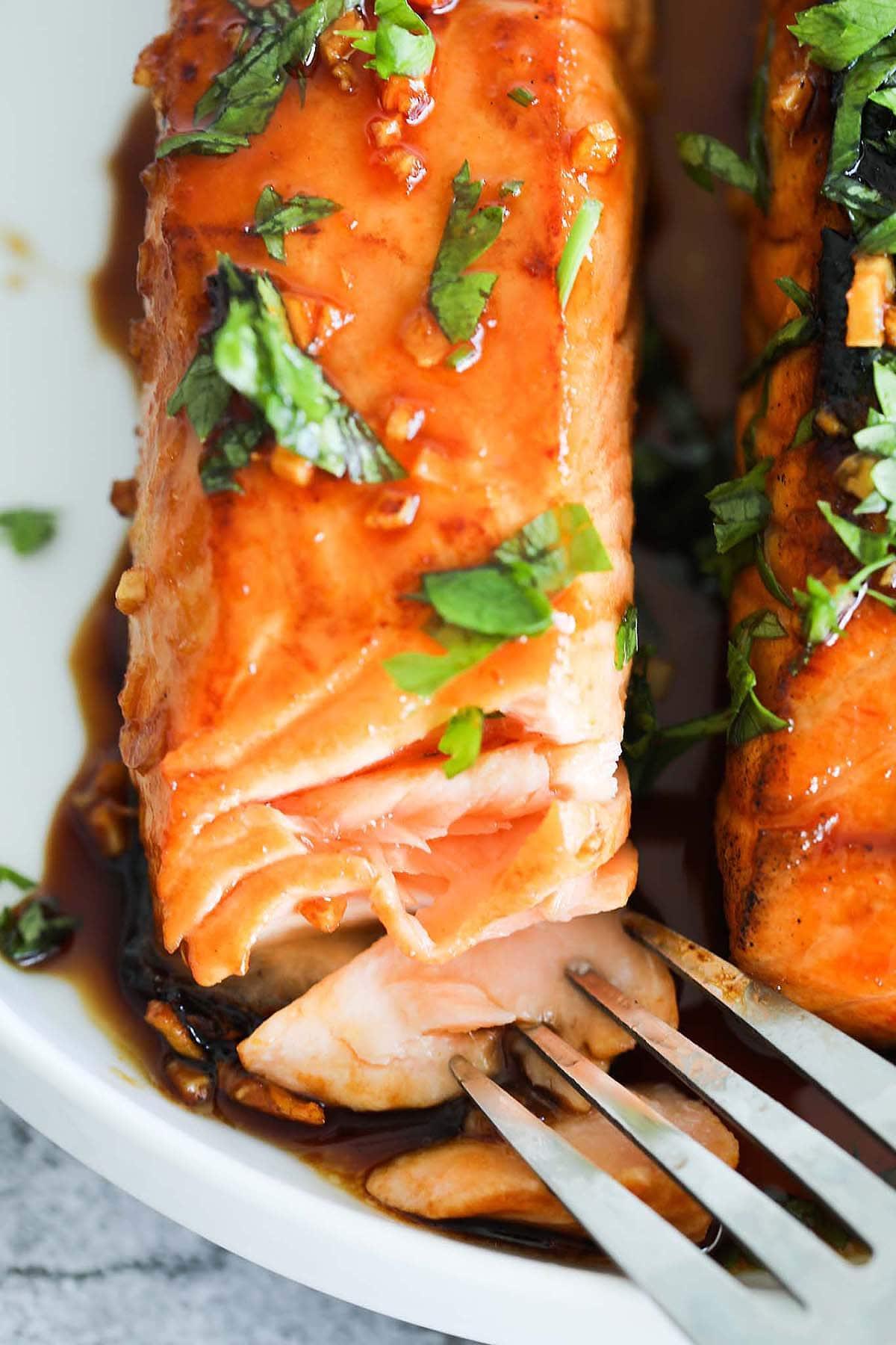 Recette de glaçage au saumon sur recette de saumon glacé au miel.