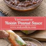 Sauce aux arachides Hoisin dans un bol au-dessus d'un rouleau de papier de riz trempé dans la sauce aux arachides Hoisin.