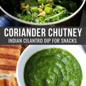 Collage d'ingrédients de chutney de coriandre dans un mélangeur et chutney de coriandre verte dans un bol avec une escale de texte