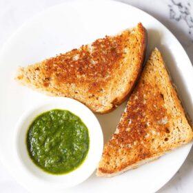 Coup de frais généraux de tranches de triangle de sandwich au fromage avec trempette à la coriandre sur une plaque blanche