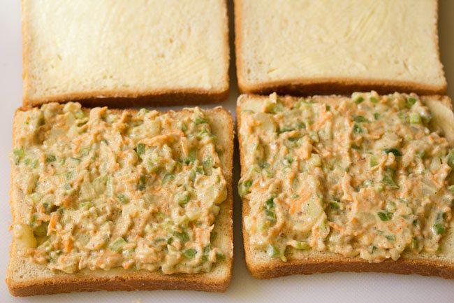 farce de mayo aux légumes tartinée sur du pain