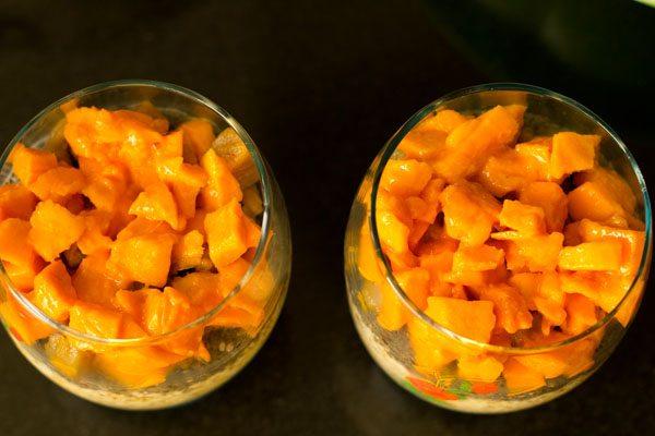 avoine du jour au lendemain et graines de chia avec sapota et mangues