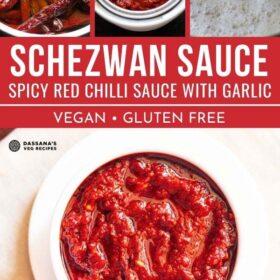 image de collage de sauce schezwan dans un bol blanc et trois étapes pour le faire avec des escales de texte