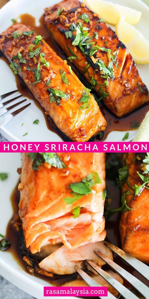 Saumon Sriracha au miel - facile, épicé, sucré et salé, cette recette de saumon glacé est géniale, du livre de cuisine SkinnyTaste.