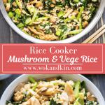Cuiseur à riz Riz aux champignons et brocoli chinois avec une spatule en y creusant au-dessus de certains dans un bol.