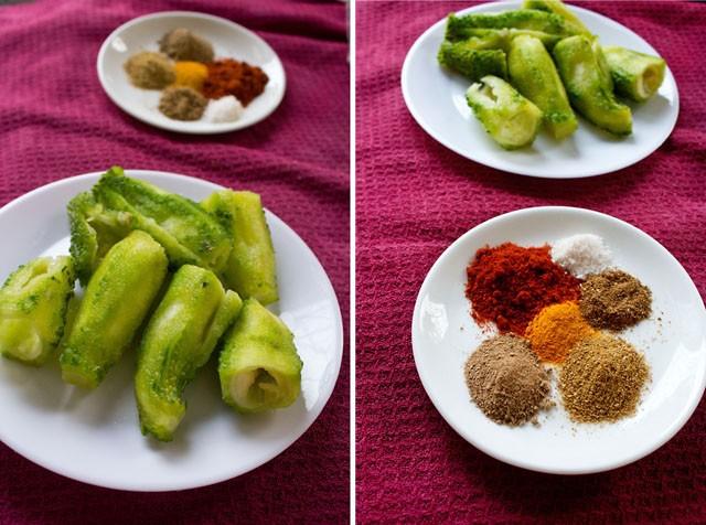 Karela farcie dans une assiette sur la première photo et épices dans une assiette sur la deuxième photo