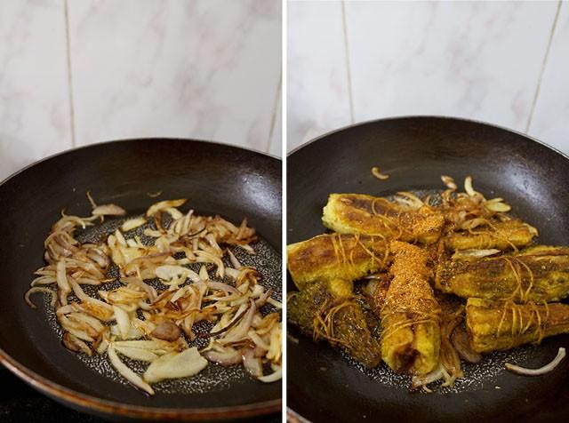 oignons sautés puis ajout de bharwa karela cuit aux oignons