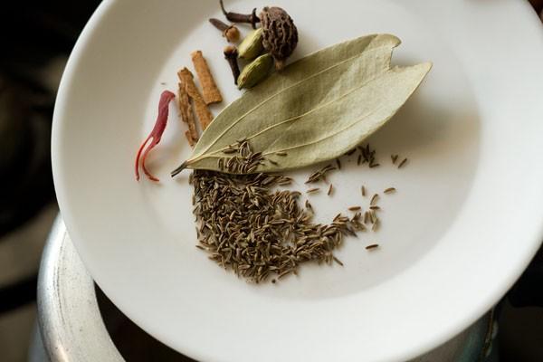 diverses épices dans une assiette blanche qui sont ajoutées à l'autocuiseur ayant du ghee