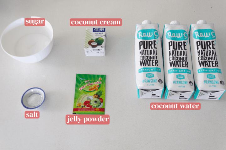 Des bouteilles d'eau de coco accompagnées d'un récipient de crème de coco, d'un sachet de poudre pour gelée, d'un plat de sel et d'un bol de sucre.