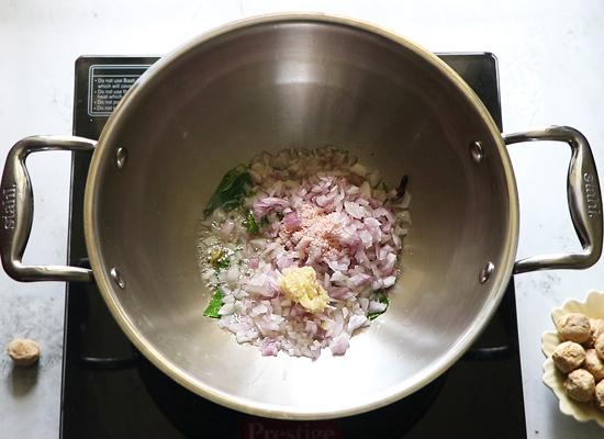 morceaux de soja kurma-oignon, sel, pâte d'ail gingembre