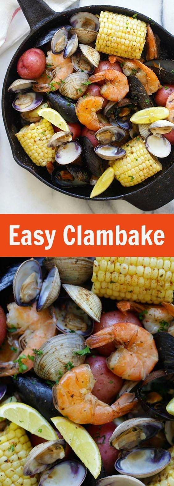 Clambake - la recette de clambake la plus simple et la plus simple de tous les temps, cuite sur une cuisinière avec une poêle.  Frais, délicieux et parfait pour l'été |  rasamalaysia.com