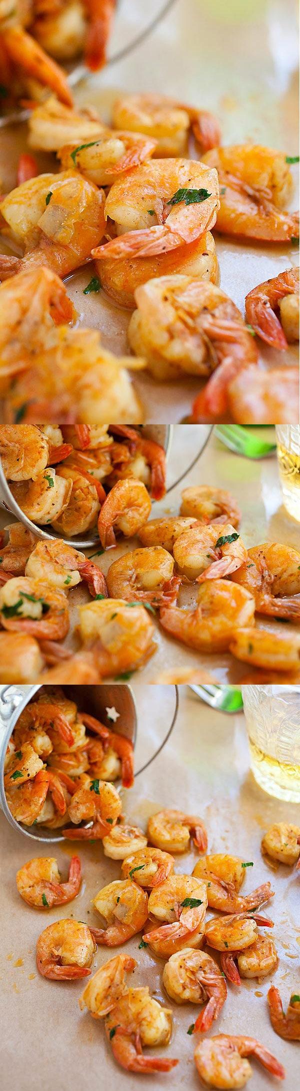 Peler et manger des crevettes - la recette de crevettes la plus simple à base de beurre, de bière et d'épices.  Prend 10 minutes à faire et un aliment de base pour l'été    rasamalaysia.com