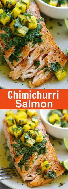 Saumon chimichurri - la meilleure recette de saumon chimichurri jamais faite avec de la mangue.  Tellement facile, qualité restaurant et parfait pour le dîner de ce soir |  rasamalaysia.com