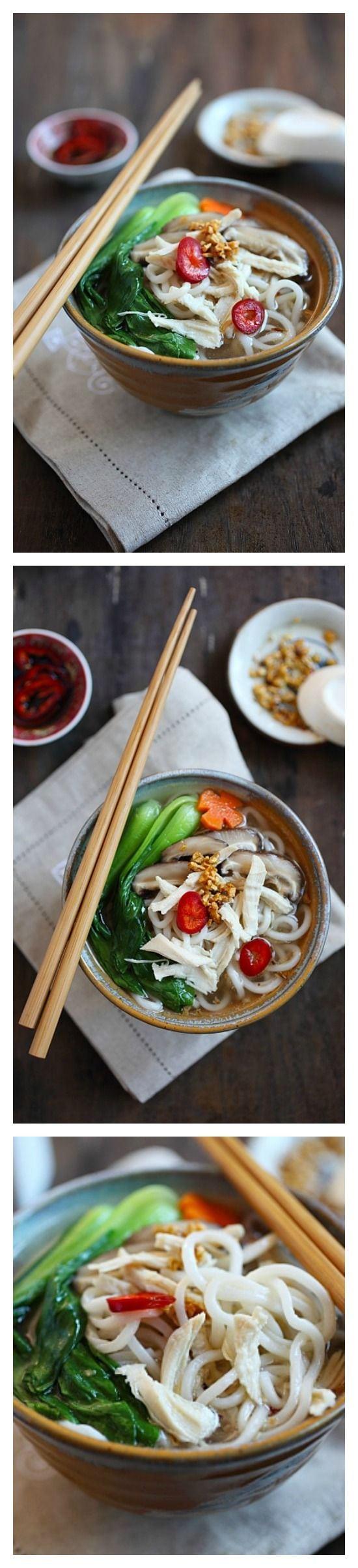 Soupe chinoise au poulet et aux nouilles - soupe de nouilles facile avec bouillon de poulet, nouilles et bok choy.  Cette recette est si facile et réconfortante, parfaite comme déjeuner rapide et copieux    rasamalaysia.com