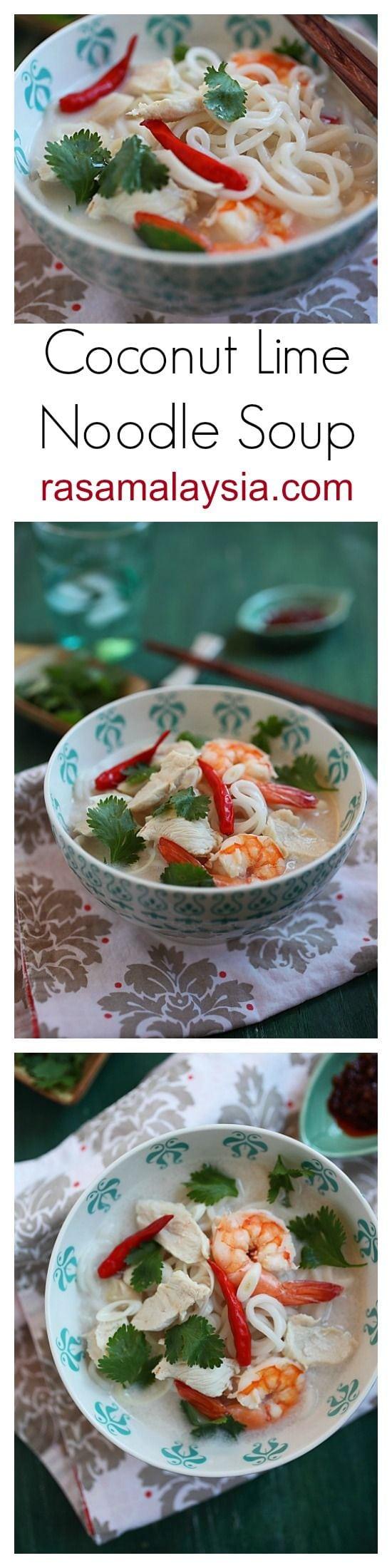 Recette de soupe de nouilles au poulet et à la lime et à la noix de coco – Si délicieuse et rafraîchissante que vous voudriez plus d'un bol    rasamalaysia.com