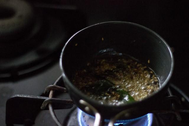 cumin asafoetida graines de sésame et feuilles de curry ajoutées