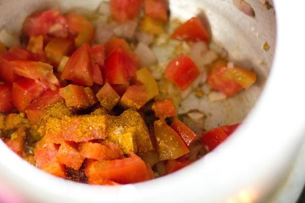 légumes et poudres d'épices pour lauki chana dal