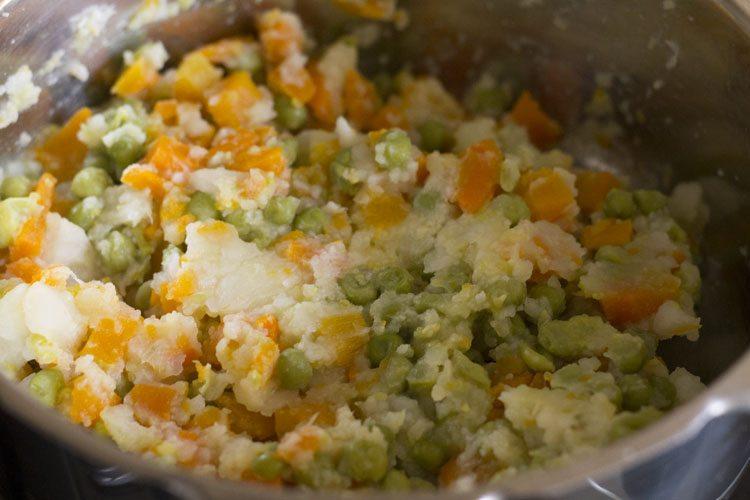 légumes légèrement écrasés
