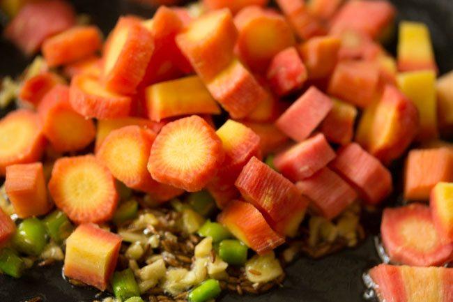 carottes hachées ajoutées