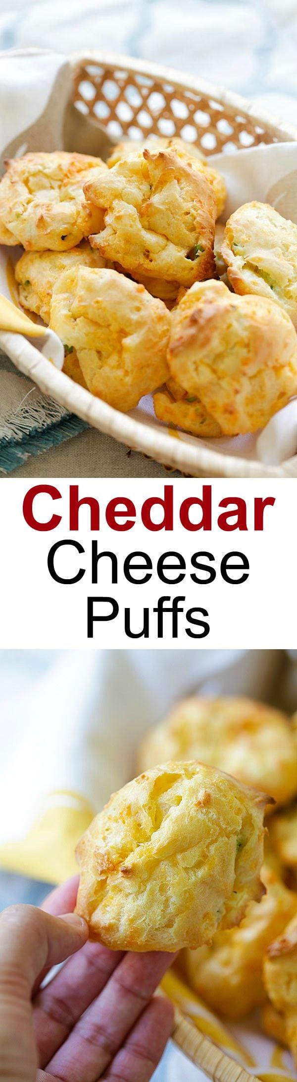 Choux au fromage cheddar - Pâte feuilletée française chargée de fromage cheddar et d'oignons verts hachés, si beurrée, fromagée, délicieuse et facile à préparer!  |  rasamalaysia.com