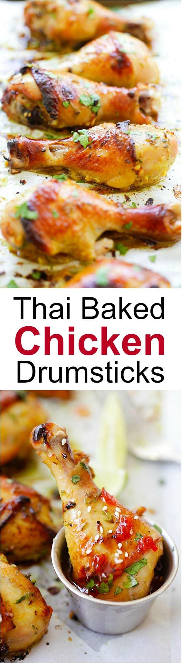 Pilons de poulet au four à la thaïlandaise – poulet juteux, savoureux et moelleux mariné avec des saveurs thaïlandaises étonnantes et cuit à la perfection.  Si bon!  |  rasamalaysia.com